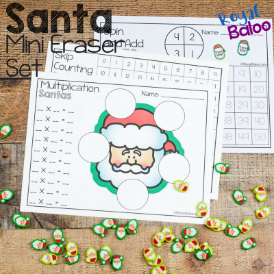 Christmas Mini Eraser Math Sets for Santa and Candy Canes