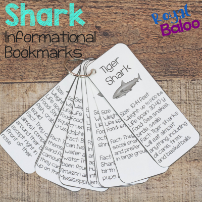 Shark Facts Bookmark Printables for Shark Week
