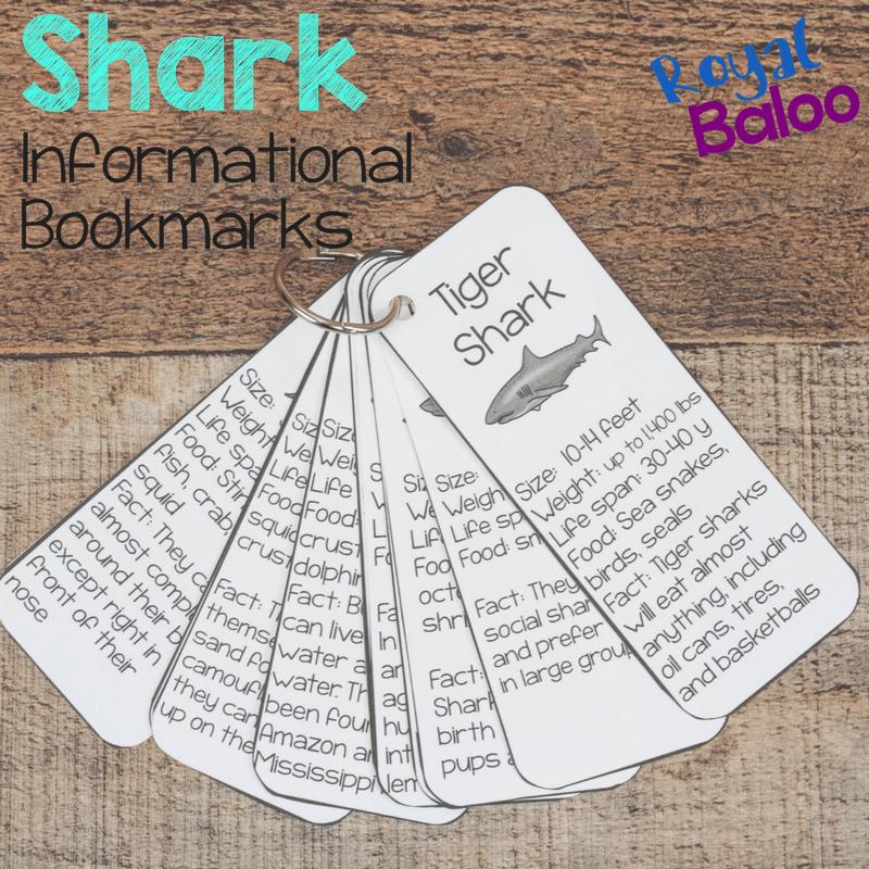 Shark Facts Bookmark Printables for Shark Week - Royal Baloo
