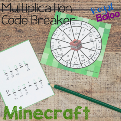 Minecraft Multiplication Code Breaker with Minecraft Puns