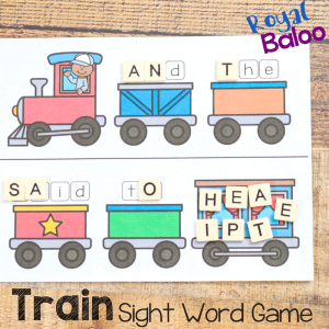 train sight word game square