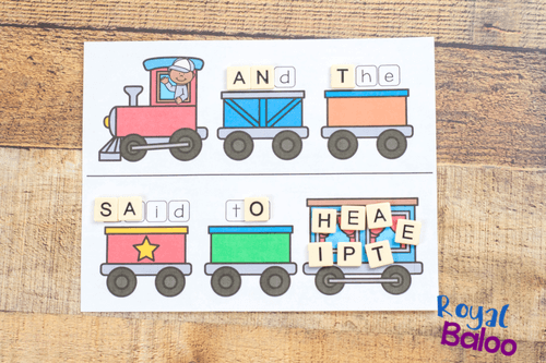 aerial view of train sight word game