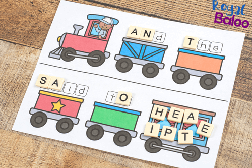 train sight word game in use with letter tiles