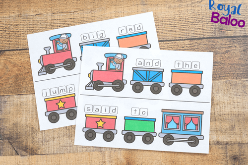 game boards for the train sight word game