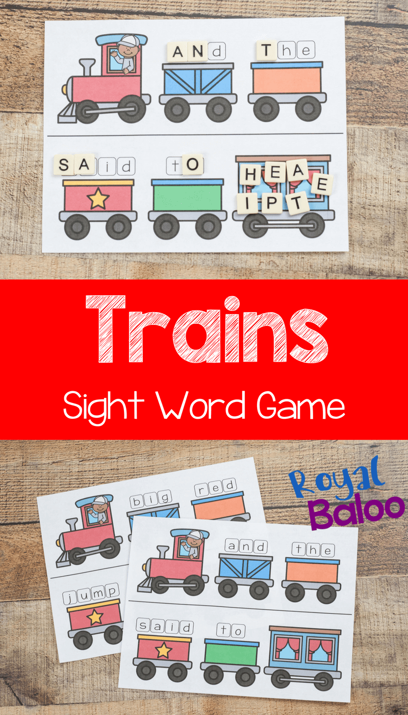 train sight word game photo collage