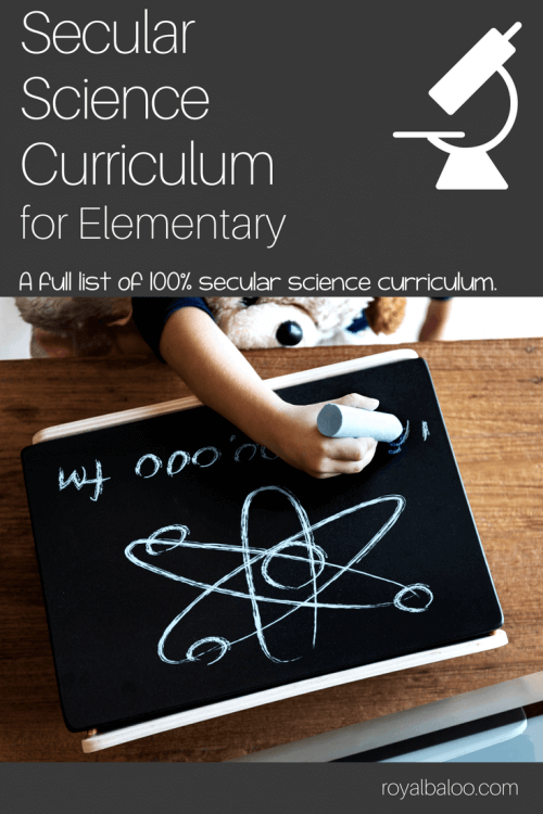 Secular science curriculum with picture of atom diagram on a chalkboard