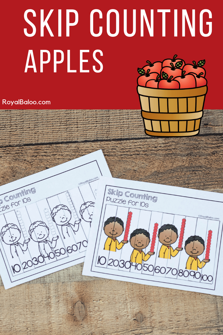 Fun skip counting set for kids with a cute apple theme! Work on math skills and prep for multiplication and telling time.