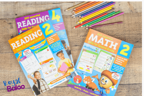 photo of workbooks for reading and math