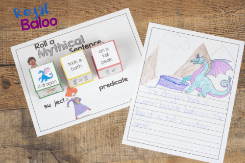 Roll a silly sentence with magical creatures! Practice reading and writing with these fun guys.