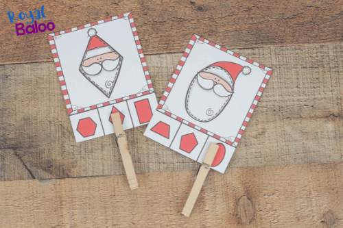 Nothing motivates kids quite like Santa! Work on fun shape activities with a Santa theme. Great shape activities for preschoolers or kindergarten! #preschool #homeschoolpreschool
