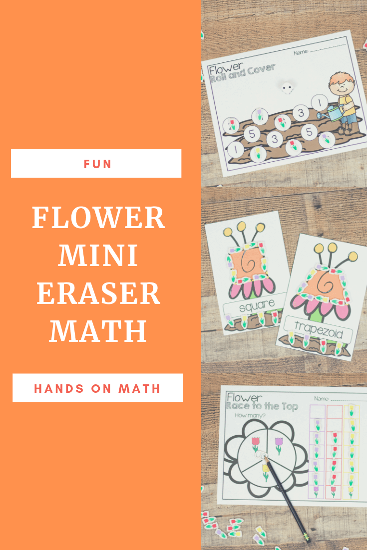 Fun and hands-on math pages to go with the flower mini erasers! Mini eraser math pages.