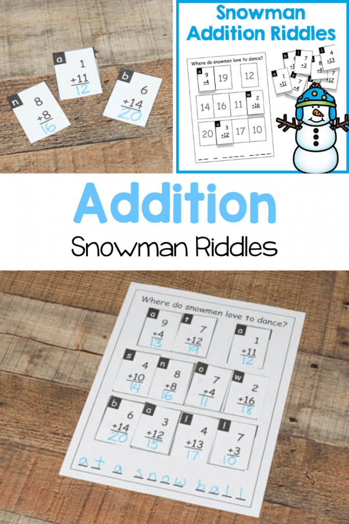 Practice addition with these fun snowman addition riddles! A bit of math practice mixed with a bit of fun.