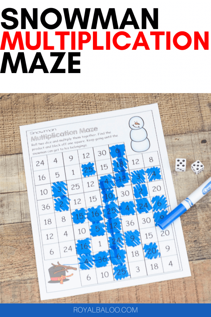 Fun multiplication practice is made even better with snowman. Get your kids working on their multiplication facts with this simple snowman multiplication maze printable.