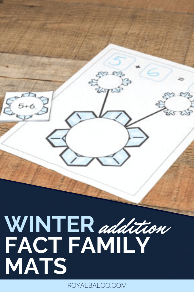 Winter addition fact family mats are the perfect way to practice addition with a hands-on approach.