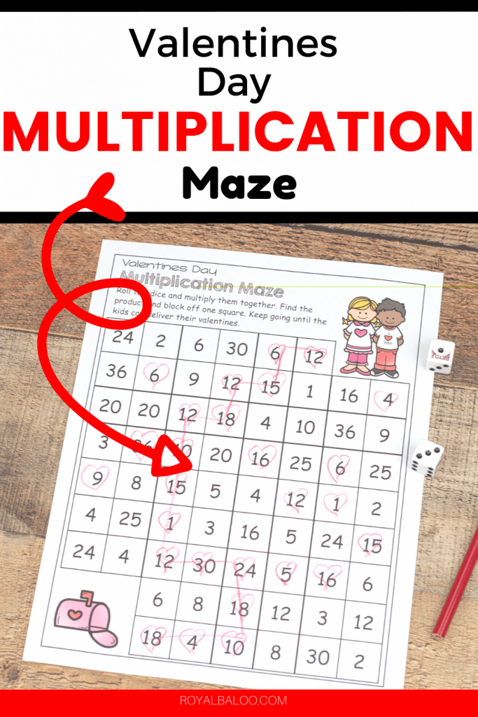 Practice multiplication skills with this super fun Valentine's Day multiplication maze.